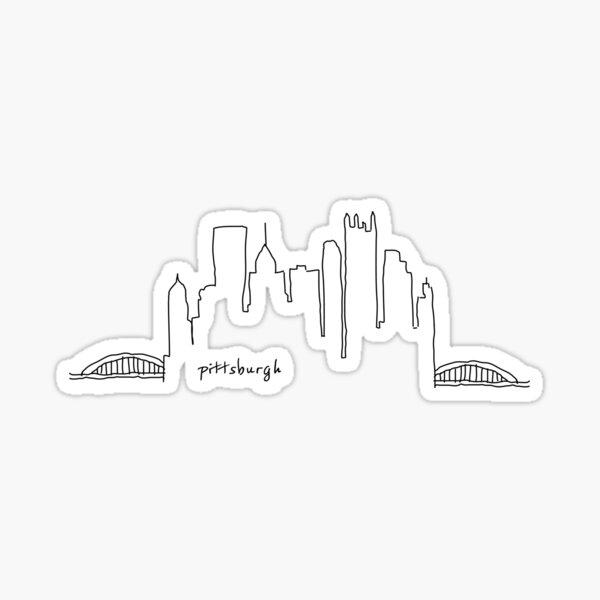 Pittsburgh Skyline Outline Sticker Sticker