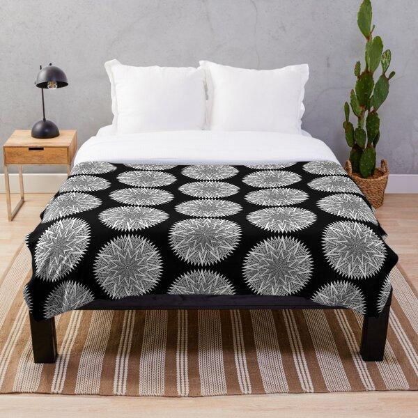 Monochrome Mandala Throw Blanket