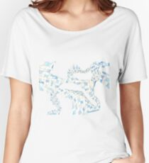 Geometric landscape blue drawing Women's Relaxed Fit T-Shirt