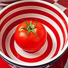 Tomato in red and white bowl by Garry Gay