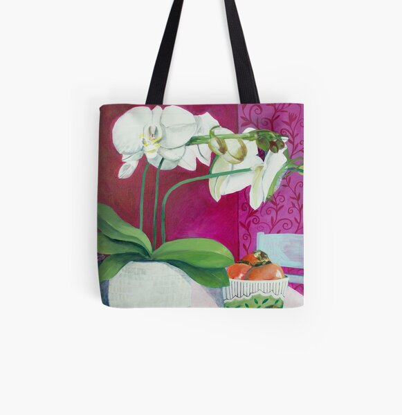 White Orchid with Persimmons All Over Print Tote Bag