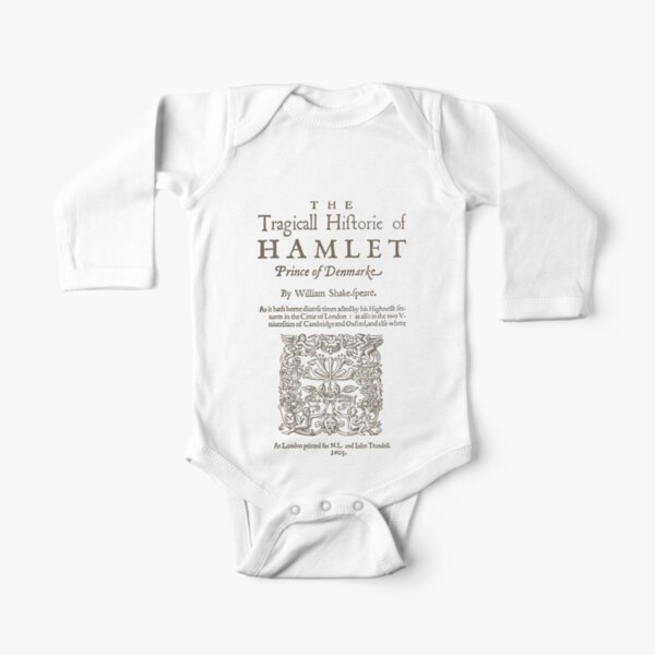 Shakespeare, Hamlet 1603 Body de manga larga para bebé