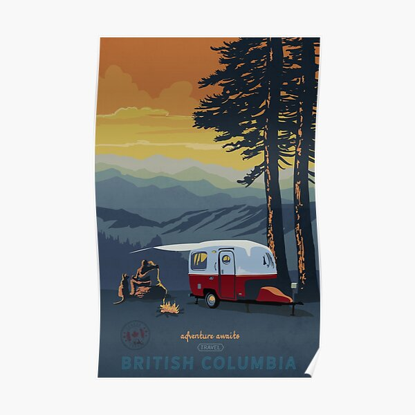 Retro Travel BC camping poster sunset scene Poster