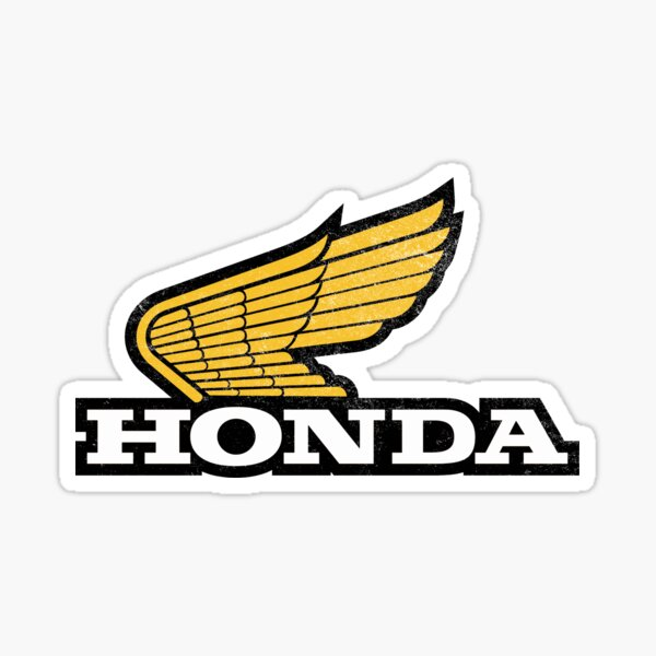 Rugged HONDA 1970s Wing Logo with grunge texture Sticker