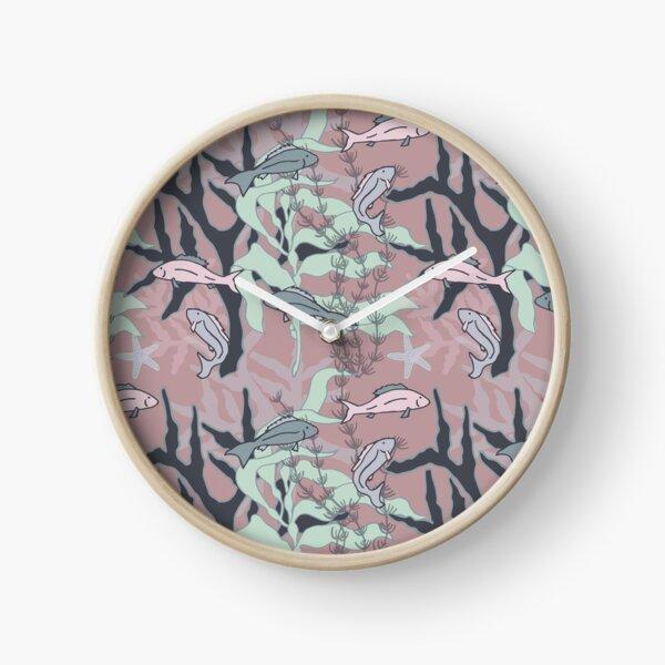 Aquatic Daydream Fish of the Sea Hand Drawn Pastel Print Clock