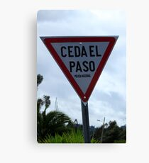 Spanish Yield Sign Canvas Print