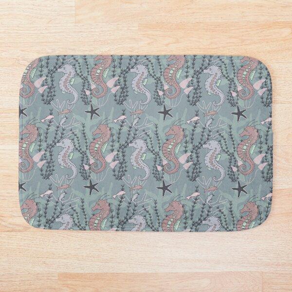 Aquatic Daydream Seahorse Hand Drawn Pastel Print Bath Mat