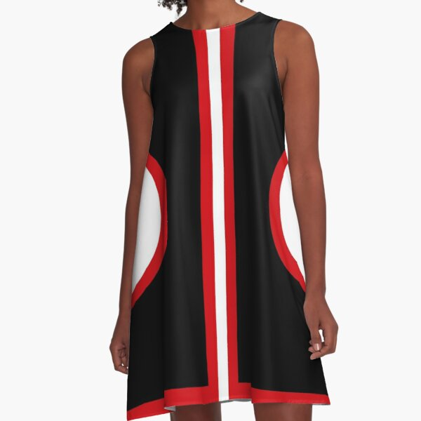 Sixties Mod Red , Black and White A-Line Dress