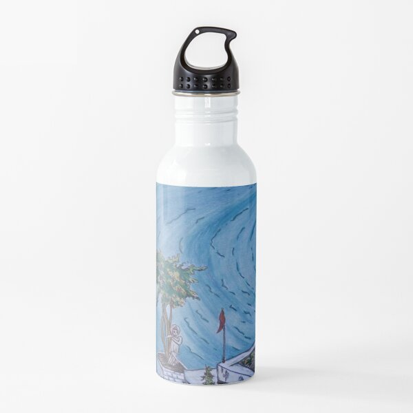 Pretty postcard of lake Pushkar, Rajasthan, India Water Bottle