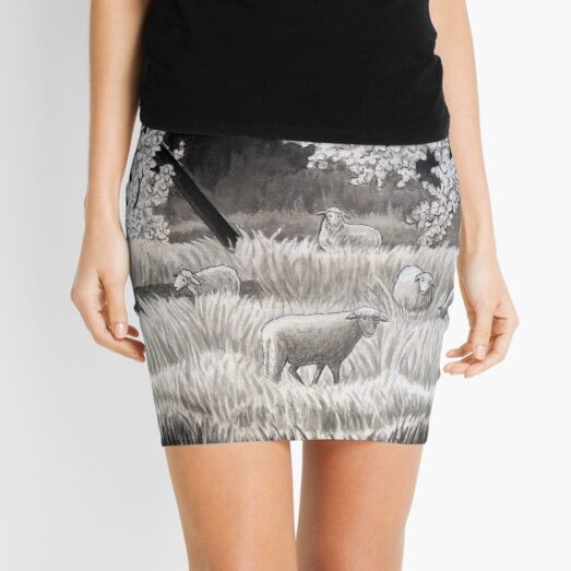 Winter Sheep in Ibiza Mini Skirt