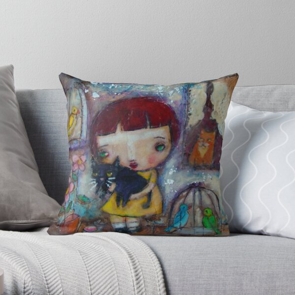 Oma's House, a girl holding a black cat Throw Pillow