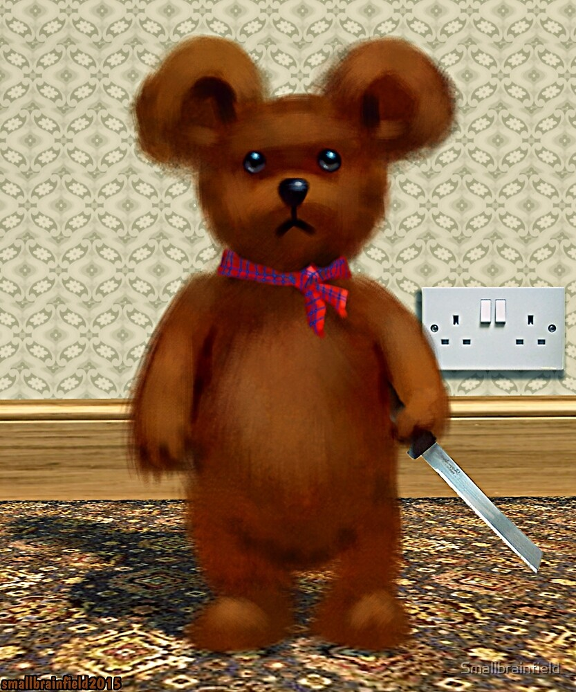 Teddy with carving knife. by Smallbrainfield