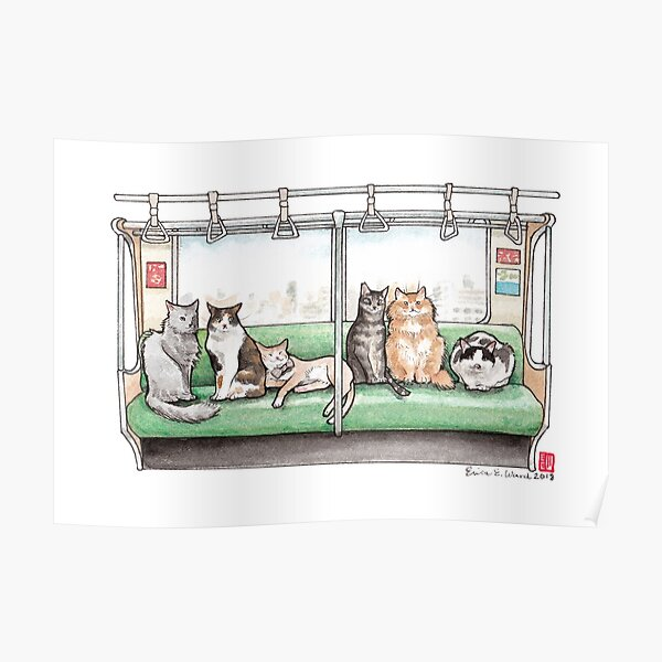 Cat Packed Train Poster