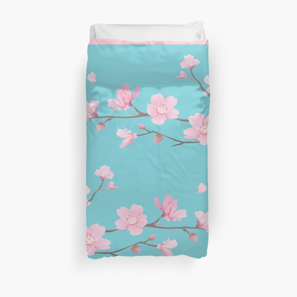 Cherry Blossom - Robin Egg Blue Funda nórdica