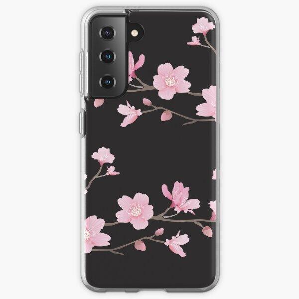 Cherry Blossom - Black Samsung Galaxy Soft Case