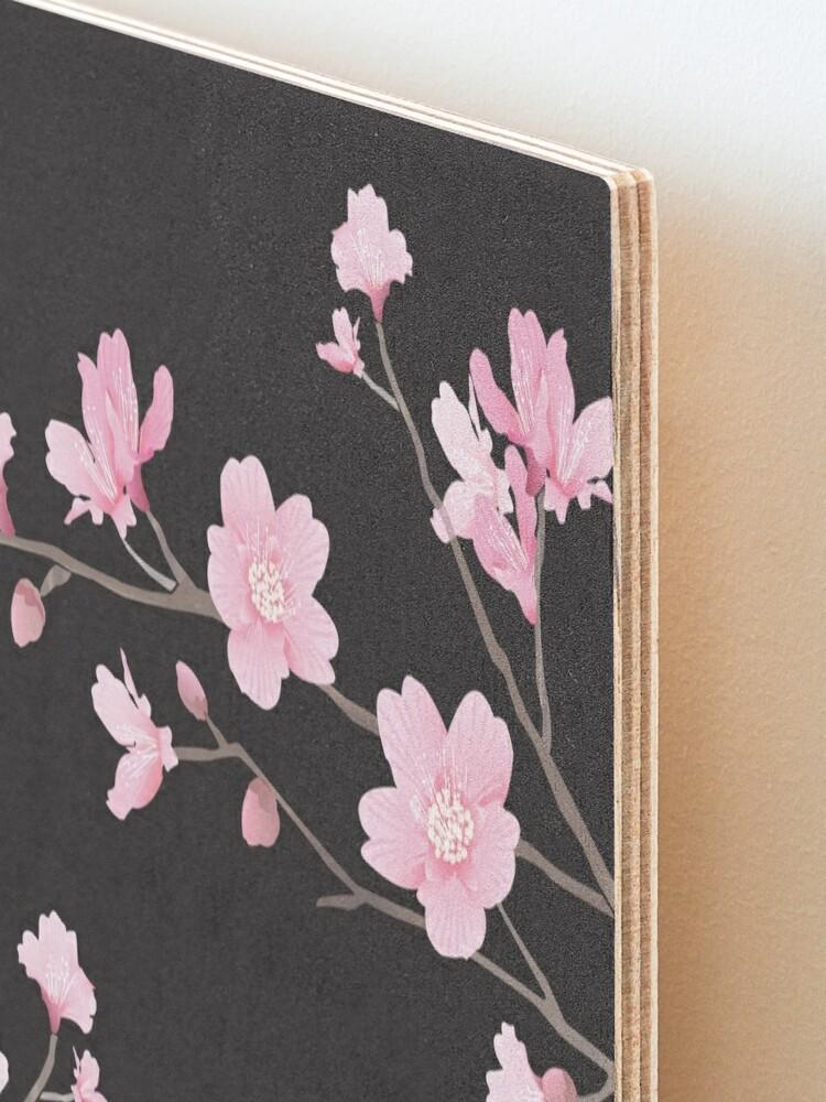 Vista alternativa de Lámina montada Flor de cerezo - negro
