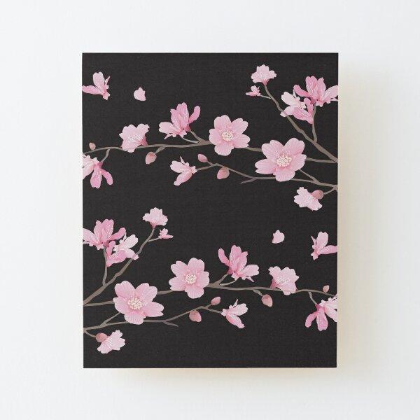 Flor de cerezo - negro Lámina montada de madera