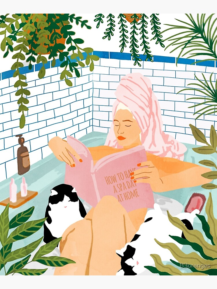 How To Have A Spa Day At Home, Cat Lady Woman Bath Tub Vacation, Stay At Home Illustration, Eclectic Quirky Plants Illustration Pets Pamper Self Care Love by 83oranges
