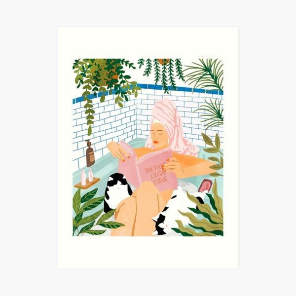 How To Have A Spa Day At Home, Cat Lady Woman Bath Tub Vacation, Stay At Home Illustration, Eclectic Quirky Plants Illustration Pets Pamper Self Care Love Art Print