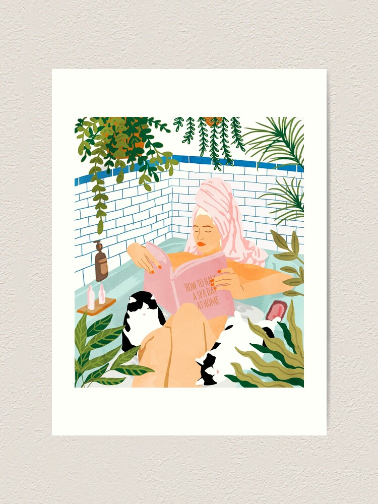 Alternate view of How To Have A Spa Day At Home, Cat Lady Woman Bath Tub Vacation, Stay At Home Illustration, Eclectic Quirky Plants Illustration Pets Pamper Self Care Love Art Print