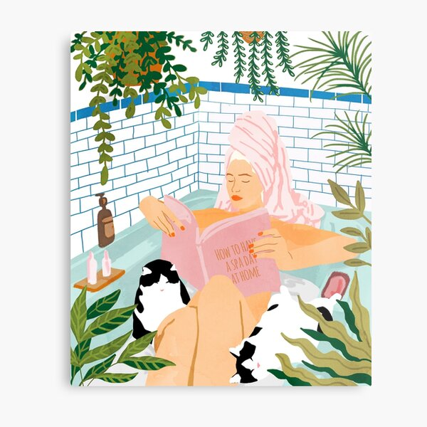 How To Have A Spa Day At Home, Cat Lady Woman Bath Tub Vacation, Stay At Home Illustration, Eclectic Quirky Plants Illustration Pets Pamper Self Care Love Metal Print