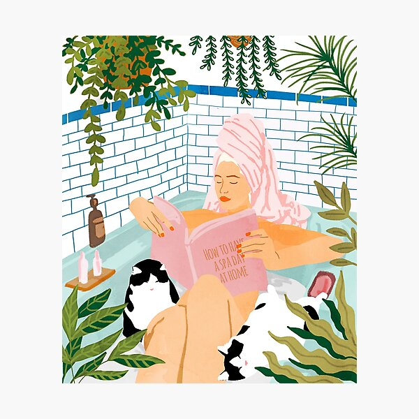 How To Have A Spa Day At Home, Cat Lady Woman Bath Tub Vacation, Stay At Home Illustration, Eclectic Quirky Plants Illustration Pets Pamper Self Care Love Photographic Print