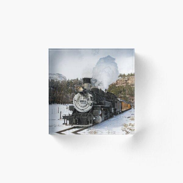 Vintage Steam Train in Winter Acrylic Block