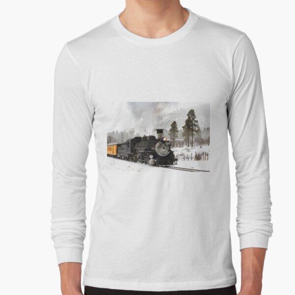 Vintage Steam Train in Winter Long Sleeve T-Shirt