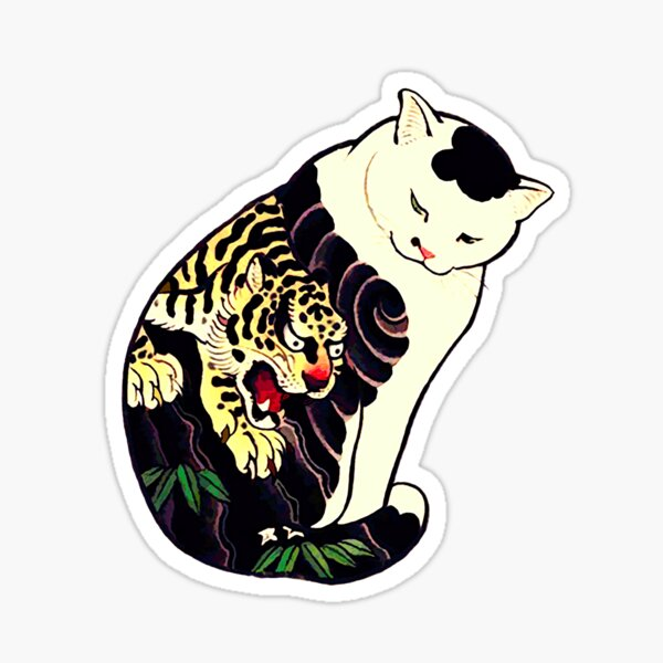 Antique Japanese Woodblock Print Cat with Tiger Tattoo Sticker