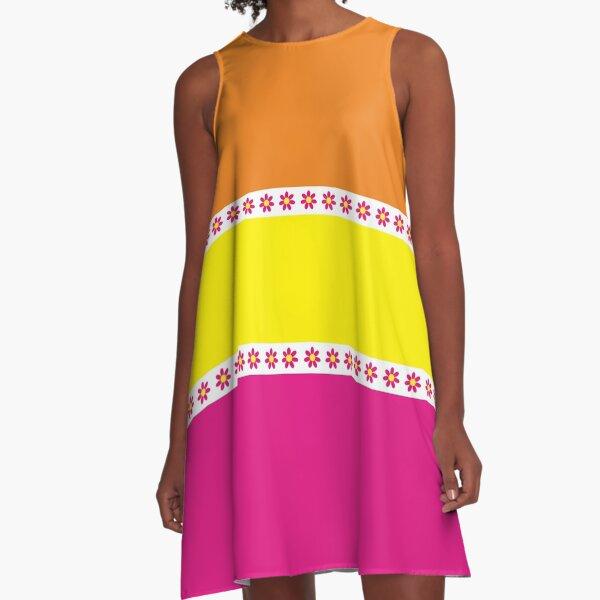 60s Flower Power Hippie Orange Yellow Pink Retro Hippie  A-Line Dress