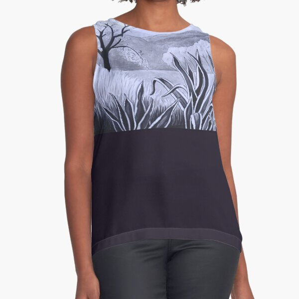 Agave (Pita) and blossoming Almond Tree in Ibiza   Sleeveless Top