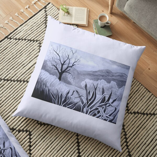 Agave (Pita) and blossoming Almond Tree in Ibiza   Floor Pillow
