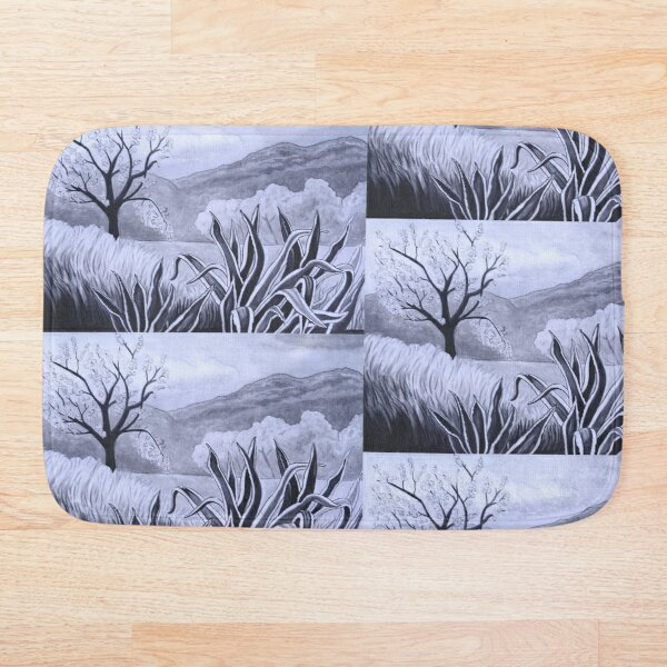 Agave (Pita) and blossoming Almond Tree in Ibiza   Bath Mat