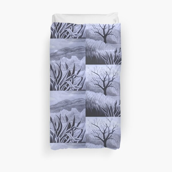 Agave (Pita) and blossoming Almond Tree in Ibiza   Duvet Cover