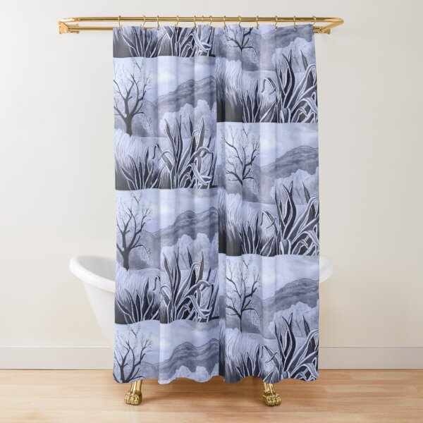 Agave (Pita) and blossoming Almond Tree in Ibiza   Shower Curtain