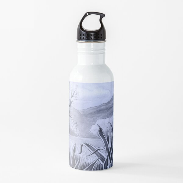Agave (Pita) and blossoming Almond Tree in Ibiza   Water Bottle
