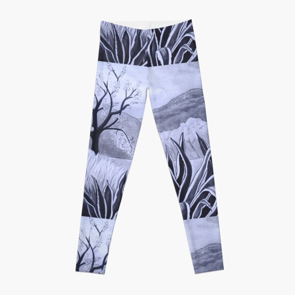 Agave (Pita) and blossoming Almond Tree in Ibiza   Leggings