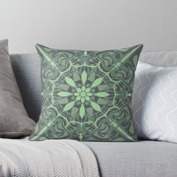 Green Flower Mandalal... Throw Pillow