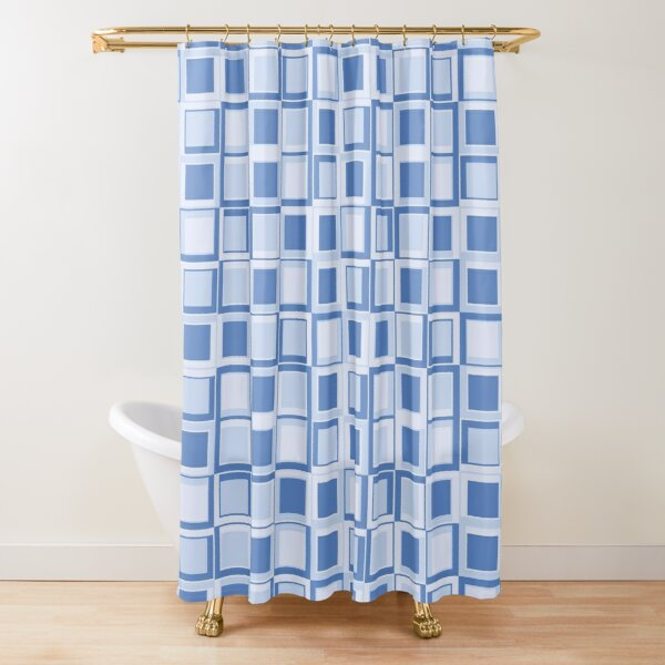 Blue 70's year styling squares Shower Curtain