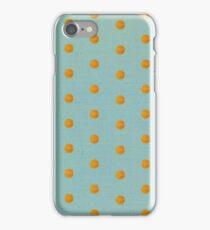 Aqua green and orange polka dots iPhone Case/Skin