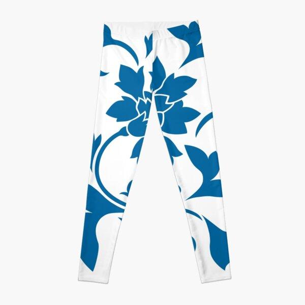 Flower Silhouette - Snorkel Blue Leggings