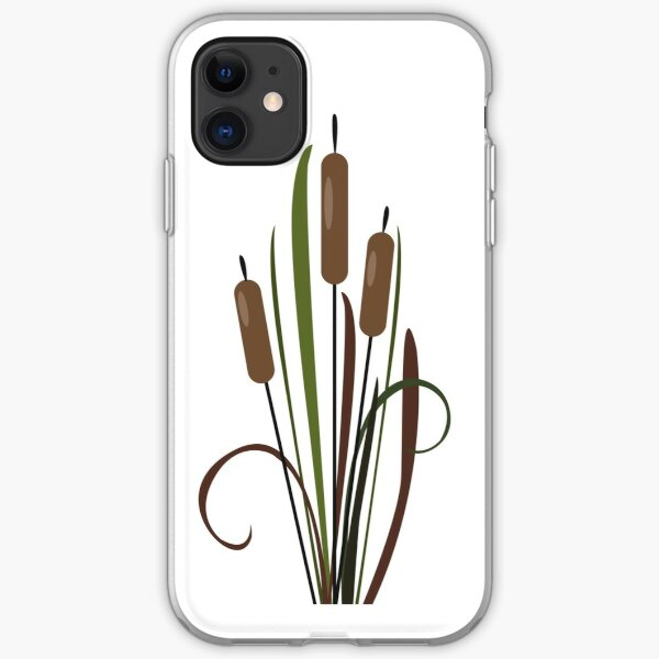Silhouettes of Swamp Reed on Sunset.  iPhone Soft Case