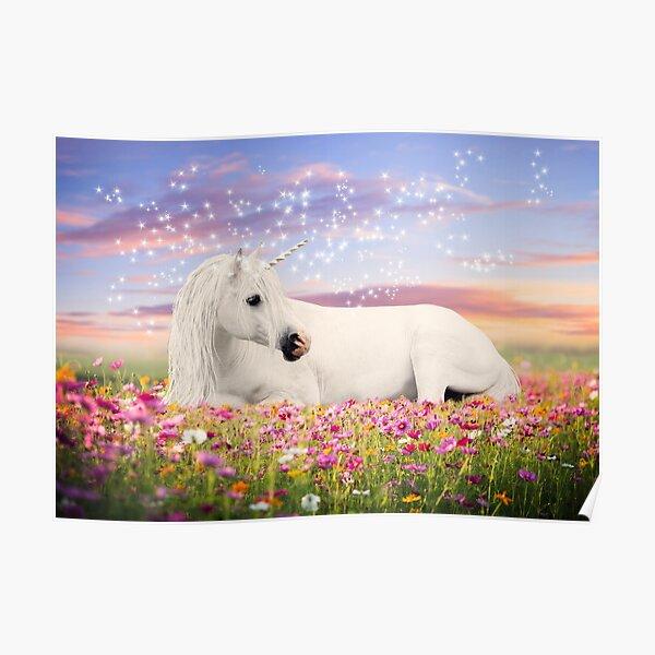 Einhorn in Blumenwiese Poster