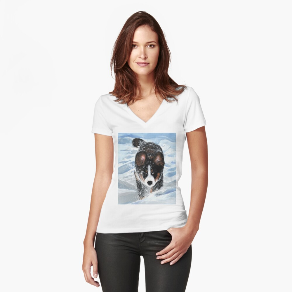 Snow Plow Women's Fitted V-Neck T-Shirt Front