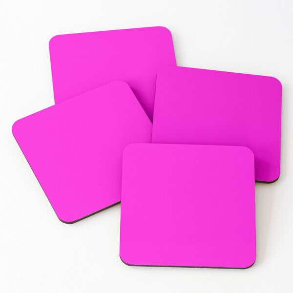 Fluorescent Neon Hot Pink Coasters (Set of 4)