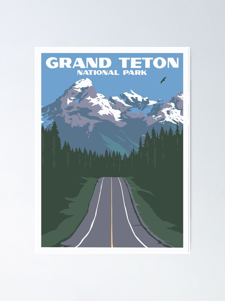 Grand Teton Vintage Travel Poster Poster By Vintagevisions Redbubble