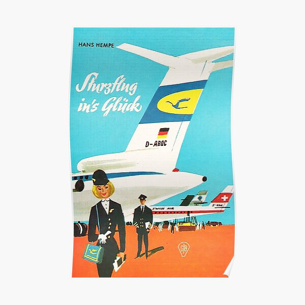 Stewardess in 1965..glamour era of Air Travel Poster