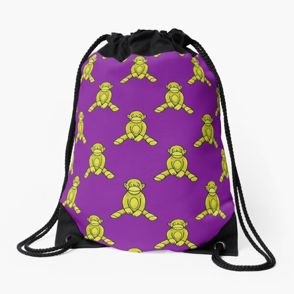 Golden Sock Monkey Pattern Drawstring Bag