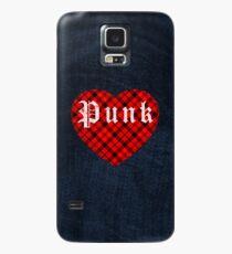 Red Tartan Punk Heart Case/Skin for Samsung Galaxy