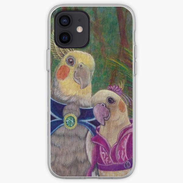Kik'e the bird and his Girlfriend, Happy Couple of Australian Nymphs  iPhone Soft Case